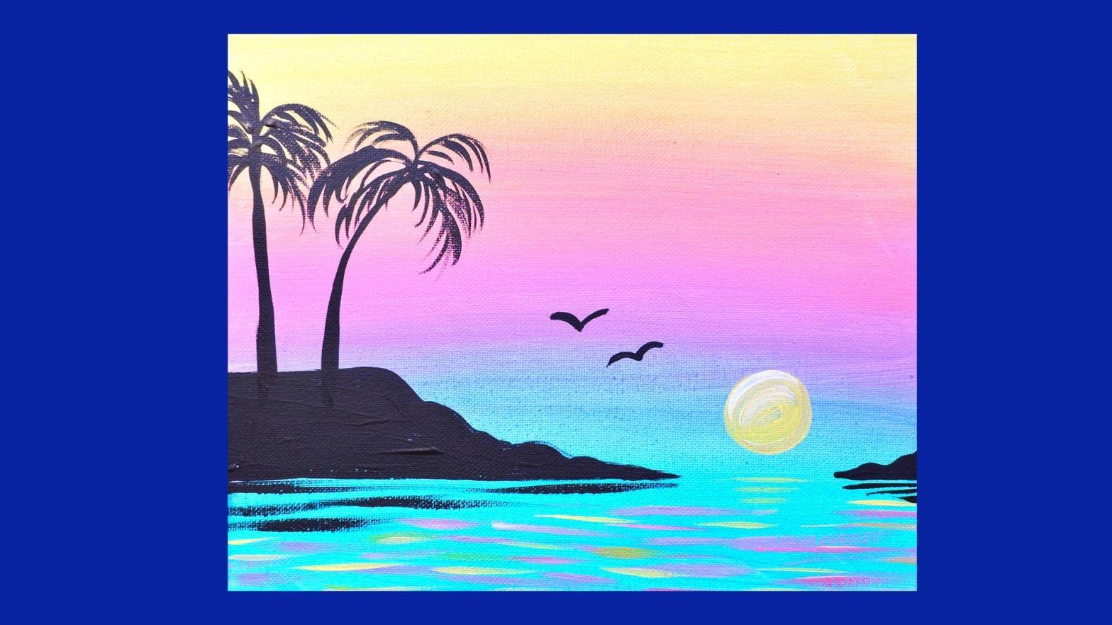 New Video Sunset Cove Easy Acrylic Tutorial For Beginners Skye Pratt Teaching Artist