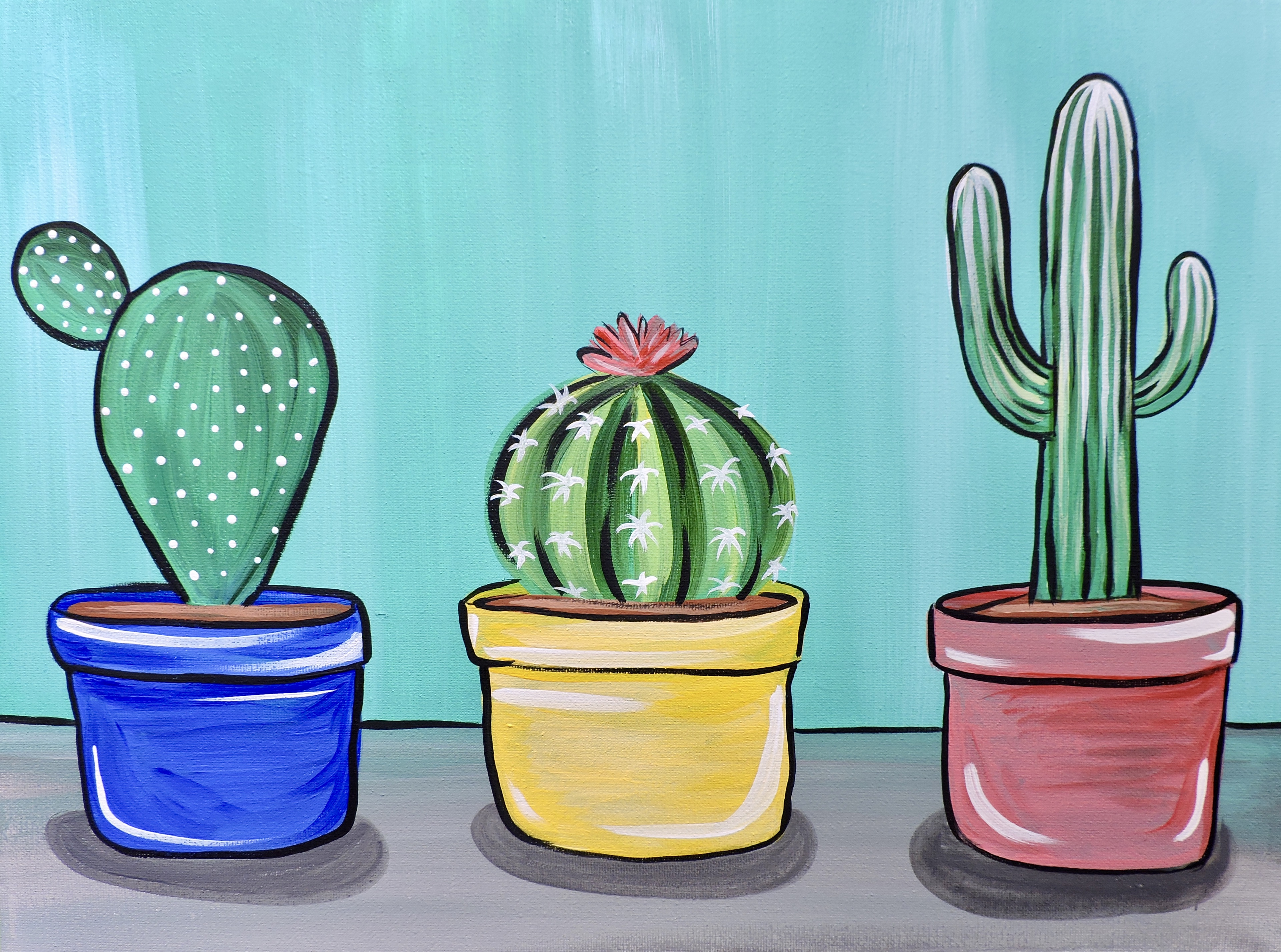 New Video Happy Cacti Acrylic Painting Tutorial For Beginners Skye Pratt Teaching Artist